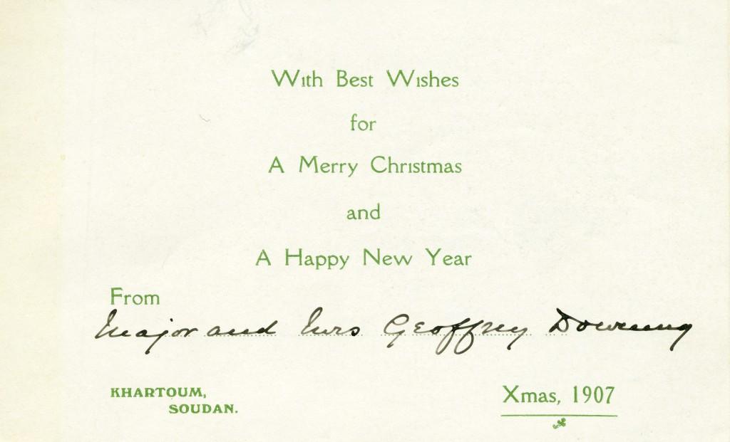 1907 RDF Khartoum Christmas Card inside
