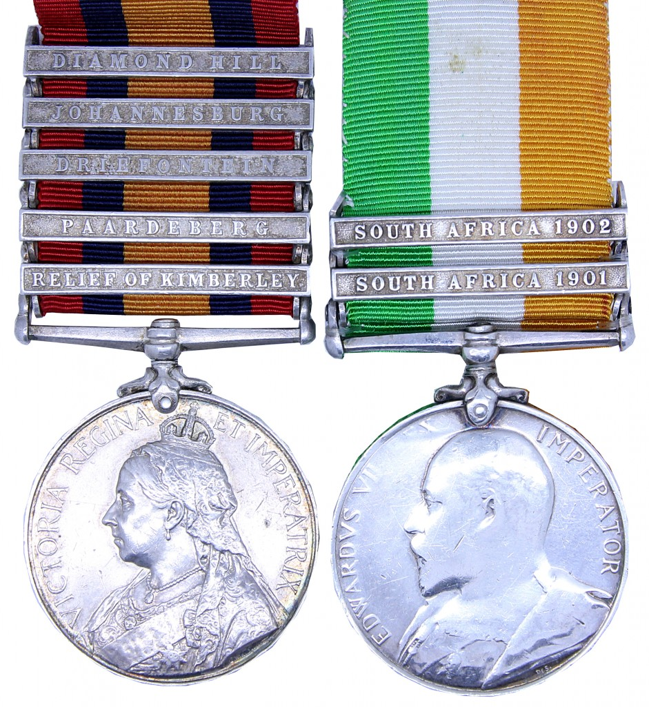 4883 Private Patrick D'Arcy 1st Battalion. Including some of the scarcest QSA clasps awarded to the regiment; Relief of Kimberley (32 awarded), Paardeberg (35), Driefontein (36), Johannesburg (30), Diamond Hill (29).