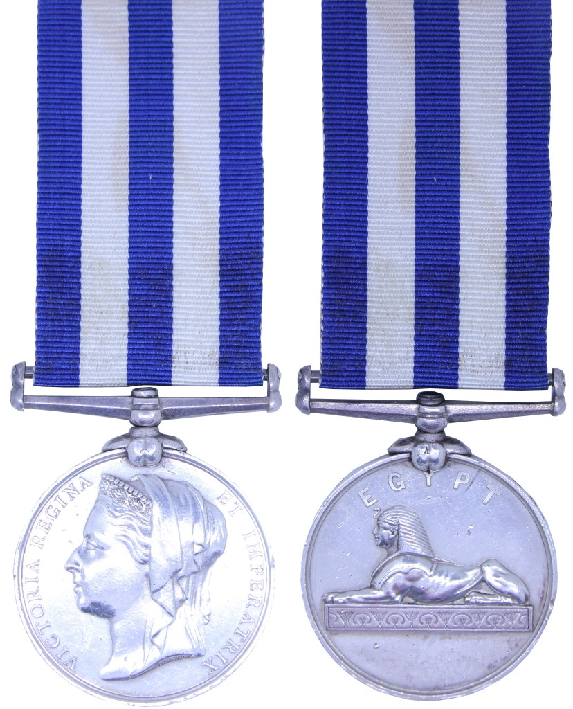 The Egypt Medal awarded to James Crutchlow from Bedworth, Warwickshire, England. He enlisted at Derby in October 1881 aged 21 and transferred to the Royal Dublin Fusiliers in February 1882. Crutchlow served in Egypt from February 1885 to February 1886. He was discharged on 11 October 1893 and returned home to work as a coal miner.
