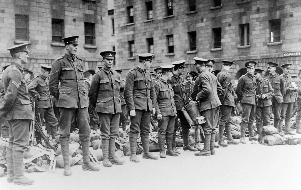 Members of the 7th Battalion being inspected at the Royal Barracks, Dublin.