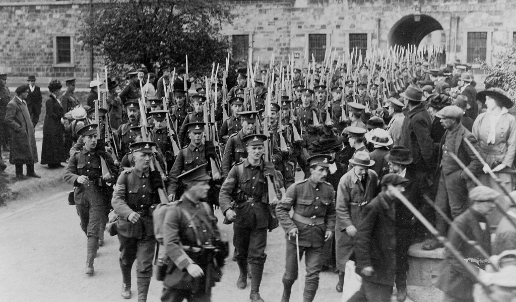 7th Battalion Royal Dublin Fusiliers marching out of the Royal Barracks Dublin
