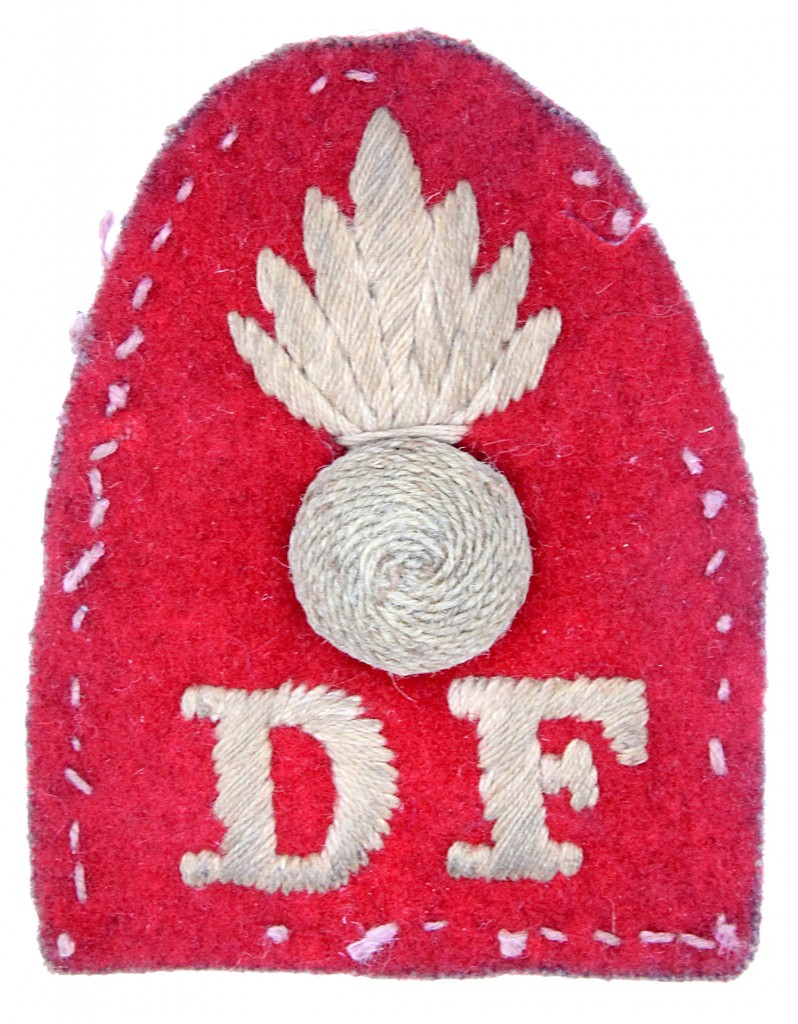 Scarce Dublin Fusiliers Boer War cloth badge worn on the side of the foreign service or pith helmet
