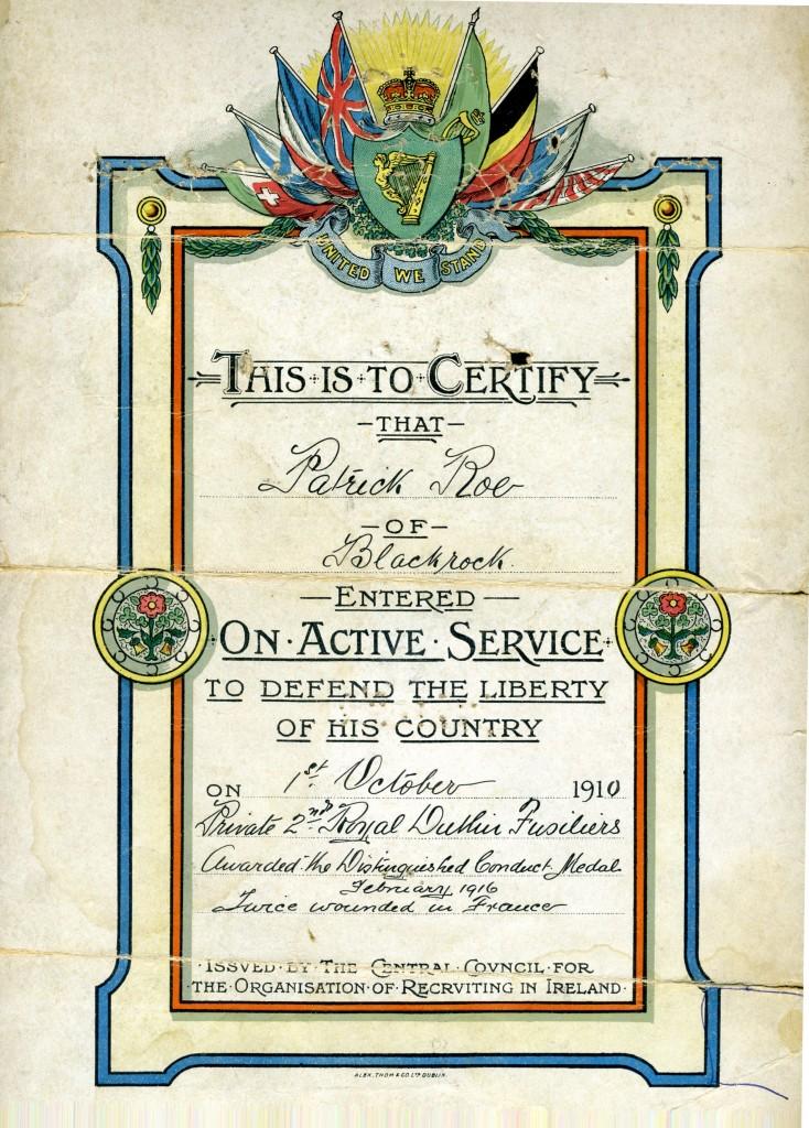 Patrick Roe Certificate