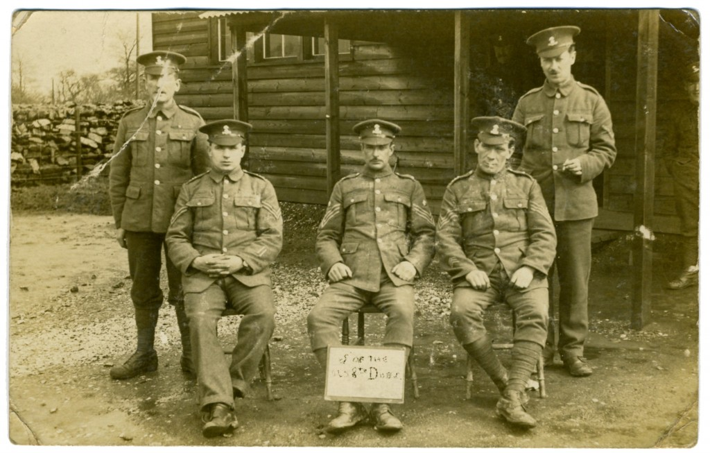 A group of men from the 8th Battalion Royal Dublin Fusiliers with William McDowell standing far right.
