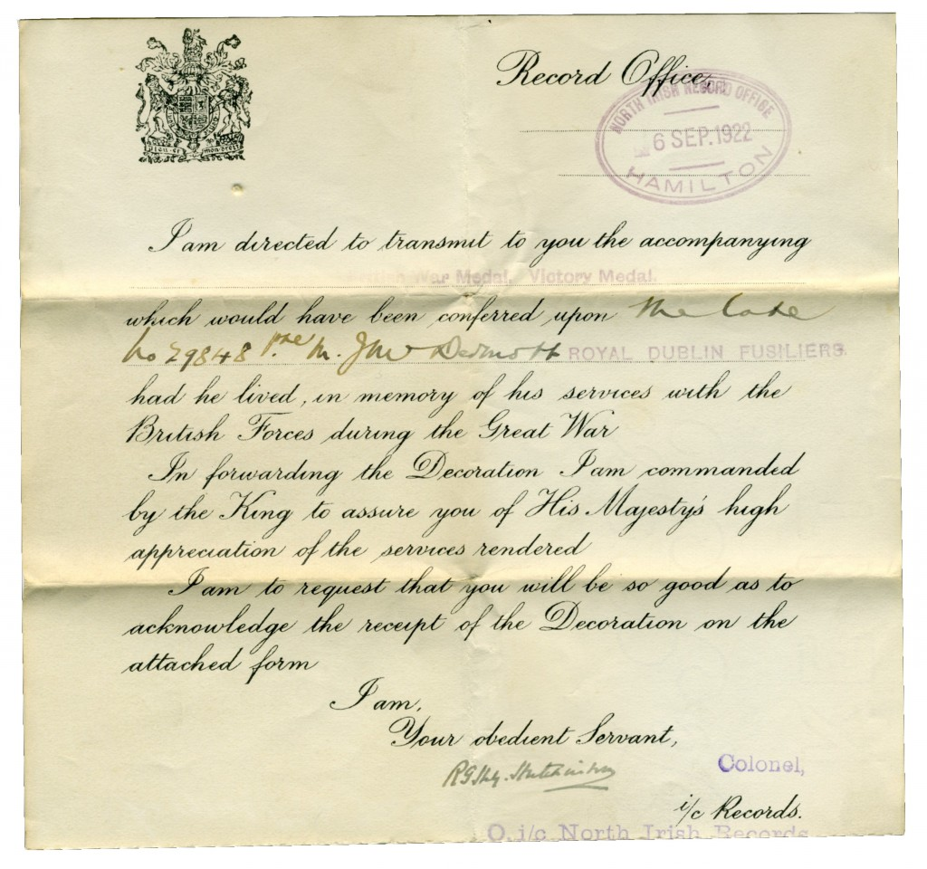 British War Medal certificate of issue