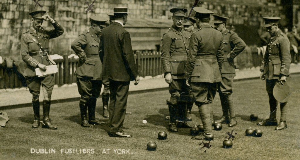 Group of officers of the 2nd Battalion playing bowls at York prior to their departure for France, August 1914