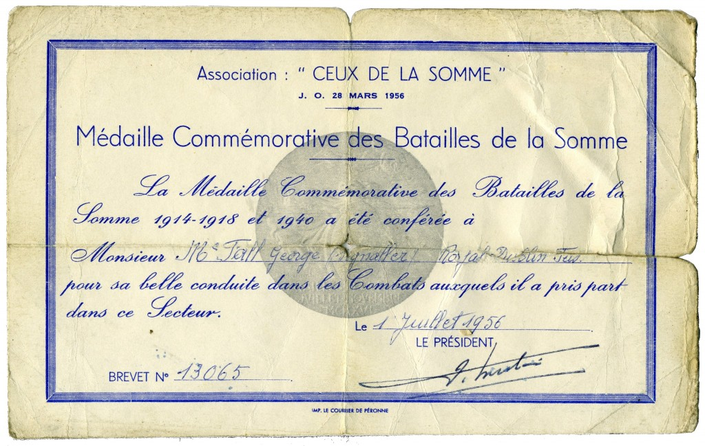 Somme Medal Certificate