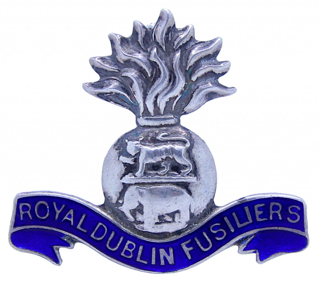 White metal and blue enamel sweetheart in the form of the regimental cap badge