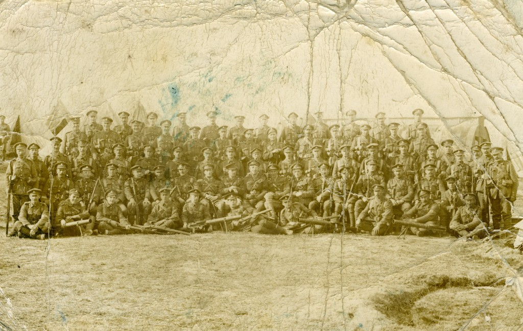 Group photograph of Royal Dublin Fusiliers taken during the First World War.